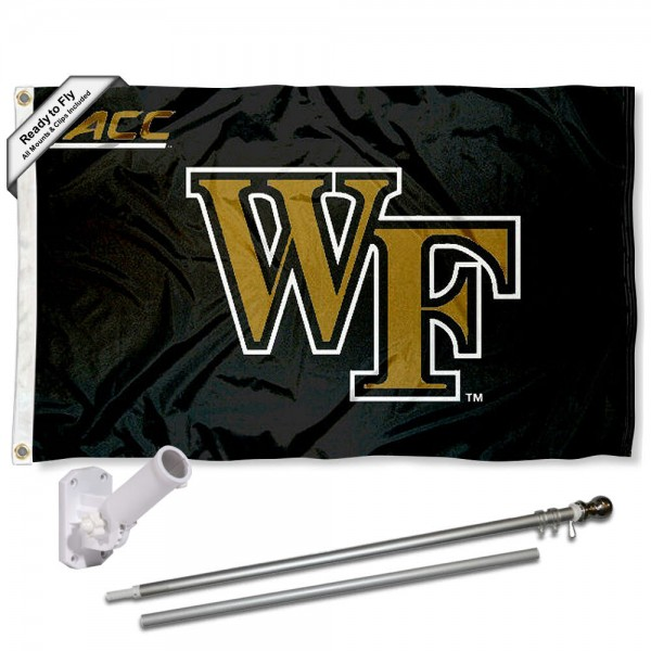Our Wake Forest Demon Deacons ACC Flag Pole and Bracket Kit includes the flag as shown and the recommended flagpole and flag bracket. The flag is made of polyester, has quad-stitched flyends, and the NCAA Licensed team logos are double sided screen printed. The flagpole and bracket are made of rust proof aluminum and includes all hardware so this kit is ready to install and fly.