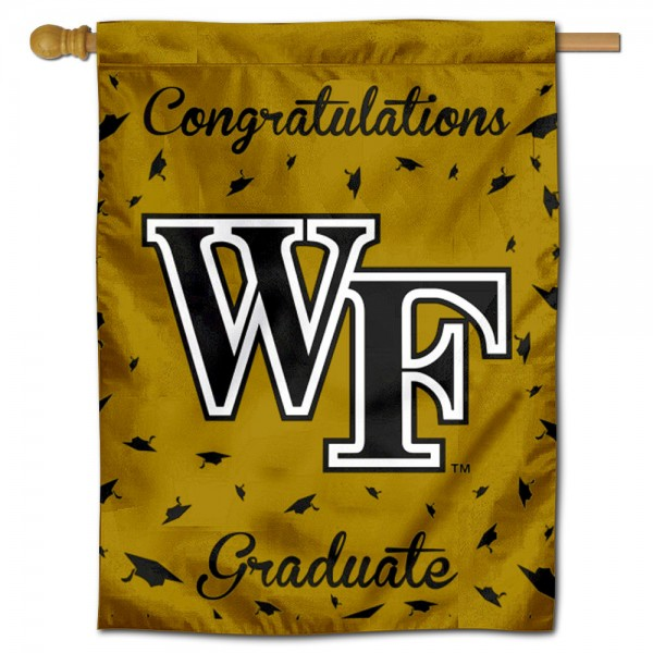Wake Forest Demon Deacons Congratulations Graduate Flag measures 30x40 inches, is made of poly, has a top hanging sleeve, and offers dye sublimated Wake Forest Demon Deacons logos. This Decorative Wake Forest Demon Deacons Congratulations Graduate House Flag is officially licensed by the NCAA.