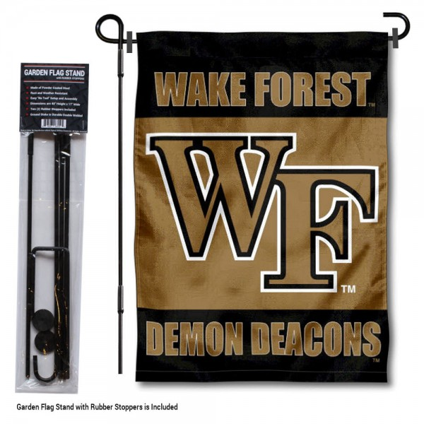 "Wake Forest Demon Deacons Garden Flag and Pole Stand kit includes our 13""x18"" garden banner which is made of 2 ply poly with liner and has screen printed licensed logos. Also, a 40""x17"" inch garden flag stand is included so your Wake Forest Demon Deacons Garden Flag and Pole Stand is ready to be displayed with no tools needed for setup. Fast Overnight Shipping is offered and the flag is Officially Licensed and Approved by the selected team."