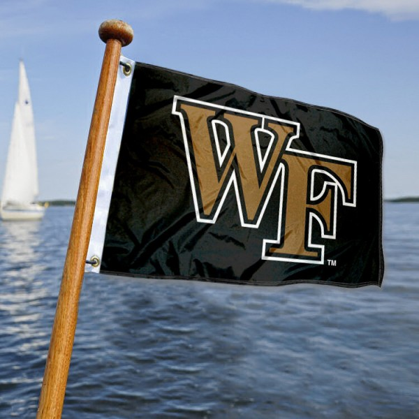 Wake Forest Demon Deacons Nautical Flag measures 12x18 inches, is made of two-ply polyesters, offers quadruple stitched flyends for durability, has two metal grommets, and is viewable from both sides. Our Wake Forest Demon Deacons Nautical Flag is officially licensed by the selected university and the NCAA and can be used as a motorcycle flag, golf cart flag, or ATV flag