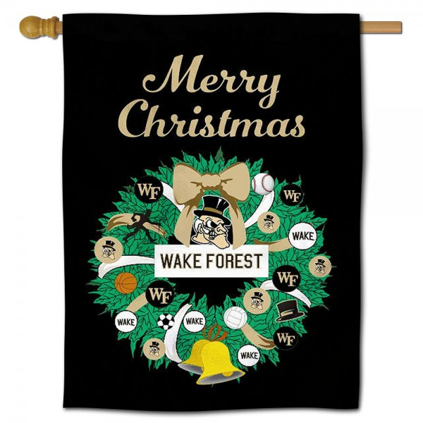 Wake Forest Happy Holidays Banner Flag measures 30x40 inches, is made of poly, has a top hanging sleeve, and offers dye sublimated Wake Forest logos. This Decorative Wake Forest Happy Holidays Banner Flag is officially licensed by the NCAA.