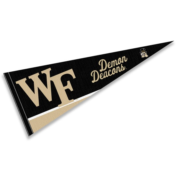 Wake Forest University Felt Pennant consists of our full size sports pennant which measures 12x30 inches, is constructed of felt, is single sided imprinted, and offers a pennant sleeve for insertion of a pennant stick, if desired. This Demon Deacons Felt Pennant is officially licensed by the selected university and the NCAA.
