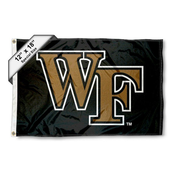 Wake Forest University Mini Flag is 12x18 inches, polyester, offers quadruple stitched flyends for durability, has two metal grommets, and is double sided. Our mini flags for Wake Forest University are licensed by the university and NCAA and can be used as a boat flag, motorcycle flag, golf cart flag, or ATV flag