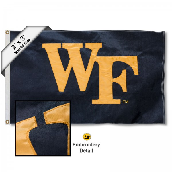 Wake WF Small 2'x3' Flag measures 2x3 feet, is made of 100% nylon, offers quadruple stitched flyends, has two brass grommets, and offers embroidered Wake WF logos, letters, and insignias. Our Wake WF Small 2'x3' Flag is Officially Licensed by the selected university.
