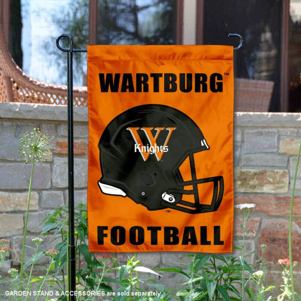 Wartburg Knights Helmet Yard Garden Flag is 13x18 inches in size, is made of 2-layer polyester with Liner, screen printed university athletic logos and lettering, and is readable and viewable correctly on both sides. Available same day shipping, our Wartburg Knights Helmet Yard Garden Flag is officially licensed and approved by the university and the NCAA.
