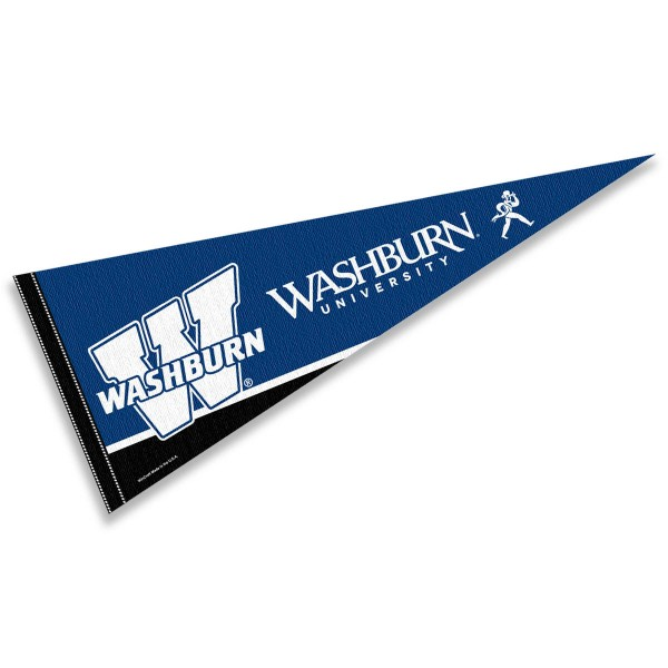 Washburn University Pennant consists of our full size sports pennant which measures 12x30 inches, is constructed of felt, is single sided imprinted, and offers a pennant sleeve for insertion of a pennant stick, if desired. This Washburn University Felt Pennant is officially licensed by the selected university and the NCAA.