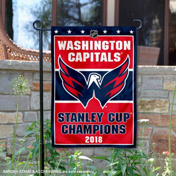 Washington Capitals 2018 Stanley Cup Champions Garden Flag is 12.5x18 inches in size, is made of 2-ply polyester, and has two sided screen printed logos and lettering. Available with Express Next Day Ship, our Washington Capitals 2018 Stanley Cup Champions Garden Flag is NHL Officially Licensed and is double sided.