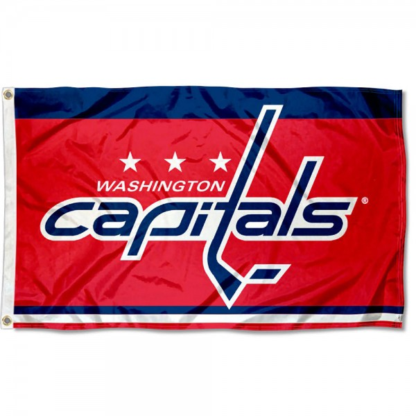 The Washington Capitals Flag is four-stitched bordered, double sided, made of poly, 3'x5', and has two grommets. These Washington Capitals Flags are NHL Genuine Merchandise.