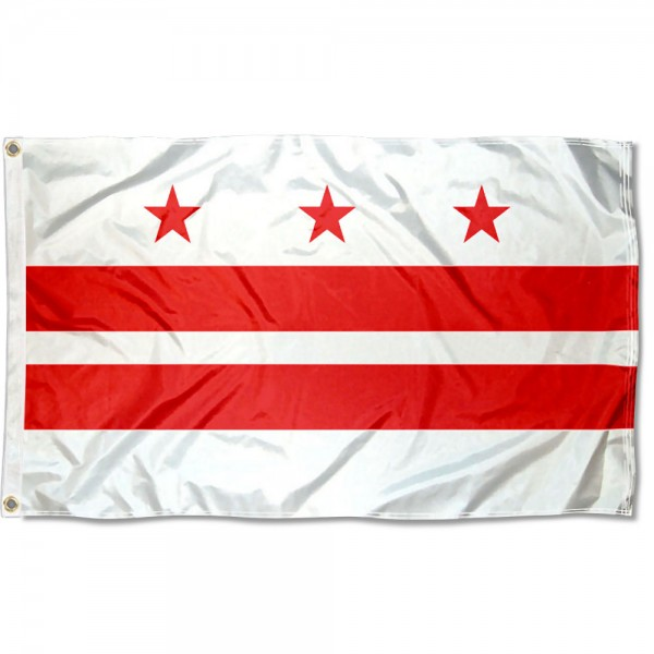 Washington DC Flag measures 3'x5', is made of 100% poly, has quadruple stitched sewing, two metal grommets, and has double sided Washington DC logos.