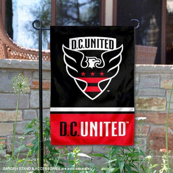 Washington DC United Garden Flag is 12.5x18 inches in size, is made of 2-ply polyester, and has two sided screen printed logos and lettering. Available with Express Next Day Shipping, our Washington DC United Garden Flag is MLS Genuine Merchandise and is double sided.