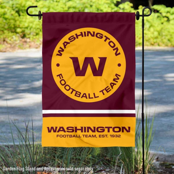 Washington Football Team New Logo Double Sided Garden Banner Flag is 12.5x18 inches in size, is made of 2-ply polyester, and has two sided screen printed logos and lettering. Available with Express Next Day Ship, our Washington Football Team New Logo Double Sided Garden Banner Flag is NFL Officially Licensed and is double sided.