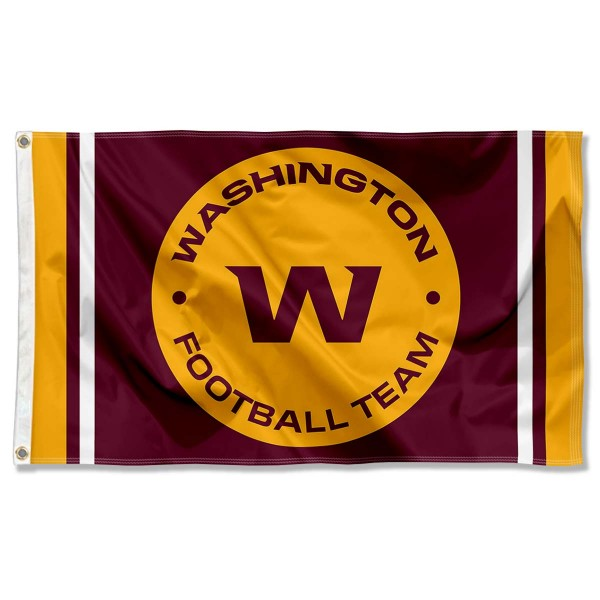 Our Washington Football Team New Logo Flag is double sided, made of poly, 3'x5', has two metal grommets, indoor or outdoor, and four-stitched fly ends. These Washington Football Team New Logo Flags are Officially Approved by the Washington Football Team.