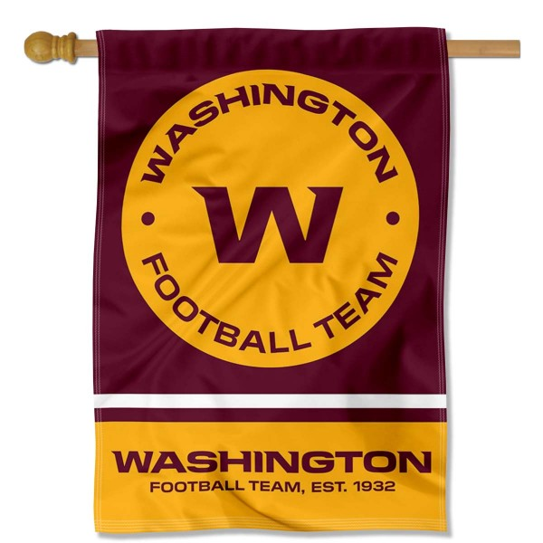 Washington Football Team Wordmark Logo Double Sided House Banner is screen printed with Washington Football Team logos, is made of 2-ply 100% polyester, and is two sided and double sided. Our banners measure 28x40 inches and hang vertically with a top pole sleeve to insert your banner pole or flagpole.