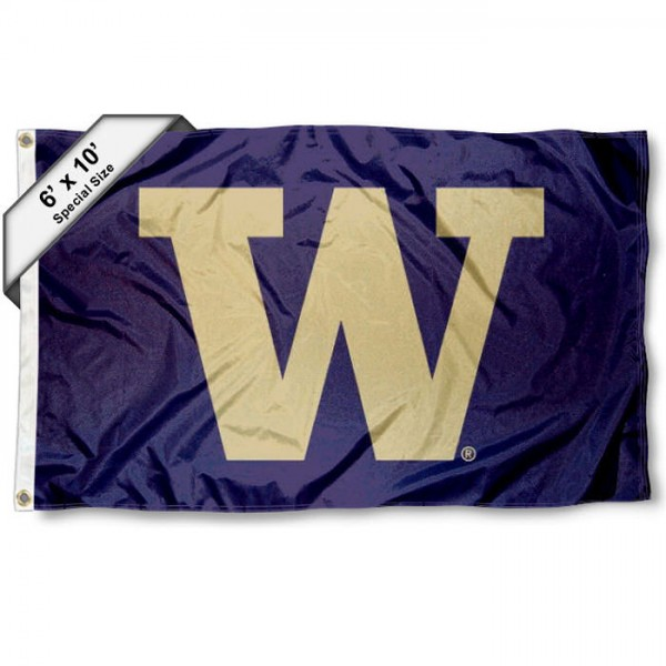 Washington Huskies 6'x10' Flag measures 6x10 feet, is made of thick poly, has quadruple-stitched fly ends, and Washington Huskies logos are screen printed into the Washington Huskies 6'x10' Flag. This Washington Huskies 6'x10' Flag is officially licensed by and the NCAA.