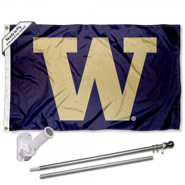 Our Washington Huskies Big W Flag Pole and Bracket Kit includes the flag as shown and the recommended flagpole and flag bracket. The flag is made of polyester, has quad-stitched flyends, and the NCAA Licensed team logos are double sided screen printed. The flagpole and bracket are made of rust proof aluminum and includes all hardware so this kit is ready to install and fly.