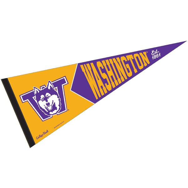 Washington Huskies College Vault and Vintage Pennant is 12x30 inches, is made of wool and felt, has a pennant stick sleeve, and the Washington Huskies logos are single sided screen printed. Our Washington Huskies College Vault and Vintage Pennant is licensed by the NCAA and the university.