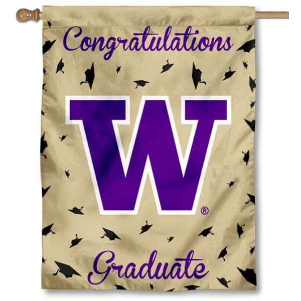Washington Huskies Congratulations Graduate Flag measures 30x40 inches, is made of poly, has a top hanging sleeve, and offers dye sublimated Washington Huskies logos. This Decorative Washington Huskies Congratulations Graduate House Flag is officially licensed by the NCAA.