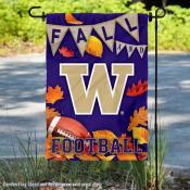 Washington Huskies Fall Football Autumn Leaves Decorative Garden Flag