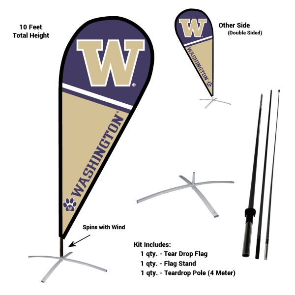 Washington Huskies Feather Flag Kit measures a tall 10' when fully assembled. The kit includes a Feather Flag, 3 Piece Fiberglass Pole, and matching Metal Feather Flag Stand. Our Washington Huskies Feather Flag Kit easily assembles and is NCAA Officially Licensed by the selected school or university.