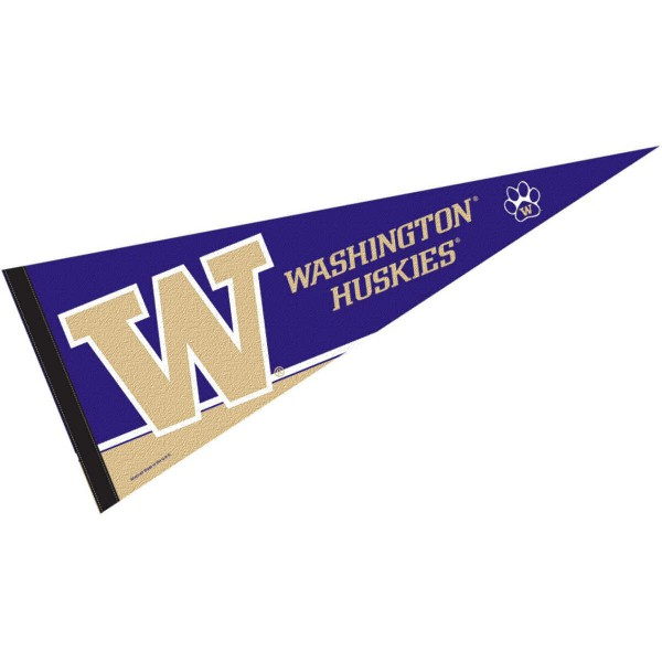 Washington Huskies Felt Pennant consists of our full size sports pennant which measures 12x30 inches, is constructed of felt, is single sided imprinted, and offers a pennant sleeve for insertion of a pennant stick, if desired. This UW Huskies Felt Pennant is officially licensed by the selected university and the NCAA.