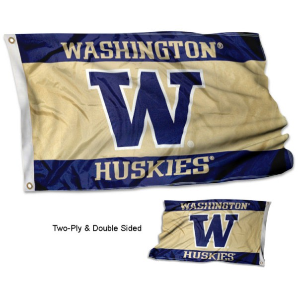 Washington Huskies Flag measures 3'x5' in size, is made of 2 layer screen printed 100% polyester, has quadruple stitched fly ends for durability, and is viewable and readable correctly on both sides. Our Washington Huskies Flag is officially licensed by the university, school, and the NCAA.