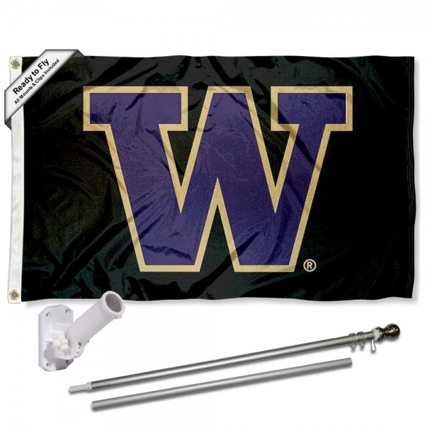 Our Washington Huskies Flag Pole and Bracket Kit includes the flag as shown and the recommended flagpole and flag bracket. The flag is made of polyester, has quad-stitched flyends, and the NCAA Licensed team logos are double sided screen printed. The flagpole and bracket are made of rust proof aluminum and includes all hardware so this kit is ready to install and fly.