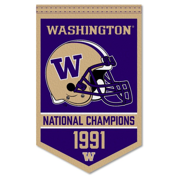 Washington Huskies Football National Champions Banner consists of our sports dynasty year banner which measures 15x24 inches, is constructed of rigid felt, is single sided imprinted, and offers a pennant sleeve for insertion of a pennant stick, if desired. This sports banner is a unique collectible and keepsake of the legacy game and is Officially Licensed and University, School, and College Approved.