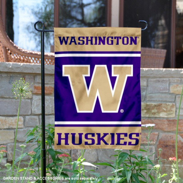 Washington Huskies Garden Flag is 13x18 inches in size, is made of 2-layer polyester, screen printed logos and lettering. Available with Same Day Express Shipping, Our Washington Huskies Garden Flag is officially licensed and approved by the NCAA.