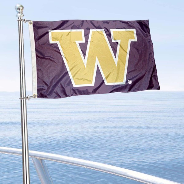 Washington Huskies Golf Cart Flag is a small 12x18 inches, made of 2-ply polyester with quad stitched flyends, and is double-sided. Our Golf Cart Logo Flags are Officially Licensed and Approved by University of Washington and NCAA.