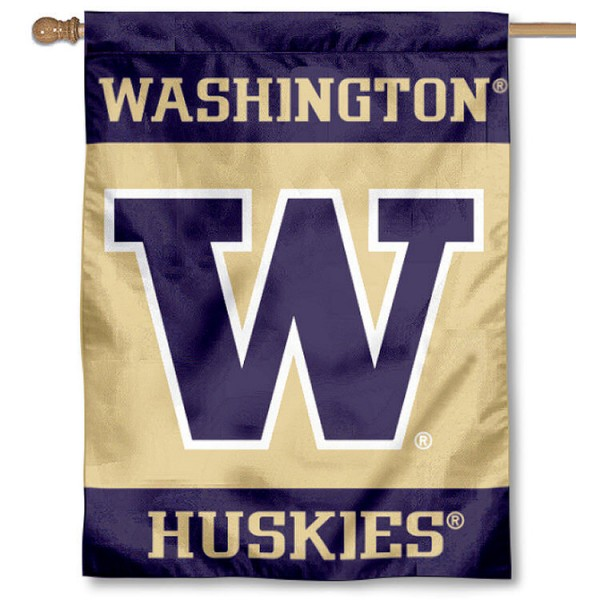 Washington Huskies House Flag is a vertical house flag which measures 30x40 inches, is made of 2-ply 100% polyester, offers dye sublimated NCAA team insignias, and has a top pole sleeve to hang vertically. Our University of Washington House Flag is officially licensed by the selected university and the NCAA.
