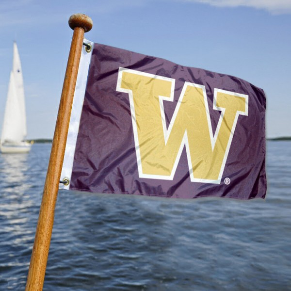 Washington Huskies Nautical Flag measures 12x18 inches, is made of two-ply polyesters, offers quadruple stitched flyends for durability, has two metal grommets, and is viewable from both sides. Our Washington Huskies Nautical Flag is officially licensed by the selected university and the NCAA and can be used as a motorcycle flag, golf cart flag, or ATV flag