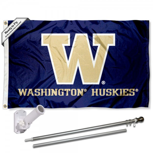 Our Washington Huskies Purple Flag Pole and Bracket Kit includes the flag as shown and the recommended flagpole and flag bracket. The flag is made of polyester, has quad-stitched flyends, and the NCAA Licensed team logos are double sided screen printed. The flagpole and bracket are made of rust proof aluminum and includes all hardware so this kit is ready to install and fly.