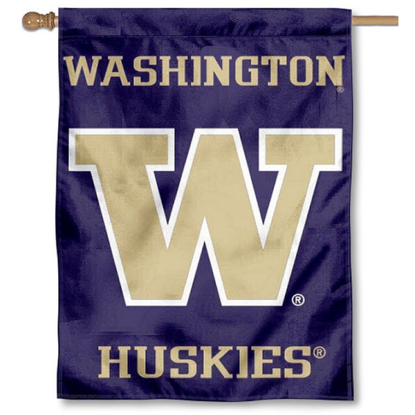 Washington Huskies Purple House Flag is a vertical house flag which measures 30x40 inches, is made of 2 ply 100% polyester, offers screen printed NCAA team insignias, and has a top pole sleeve to hang vertically. Our Washington Huskies Purple House Flag is officially licensed by the selected university and the NCAA.