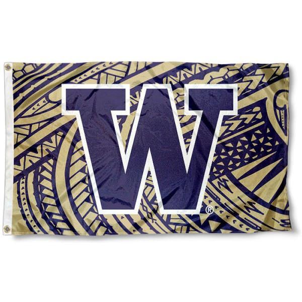 Washington Huskies Samoan Flag measures 3x5 feet, is made of 100% polyester, offers quadruple stitched flyends, has two metal grommets, and offers screen printed NCAA team logos and insignias. Our Washington Huskies Samoan Flag is officially licensed by the selected university and NCAA.
