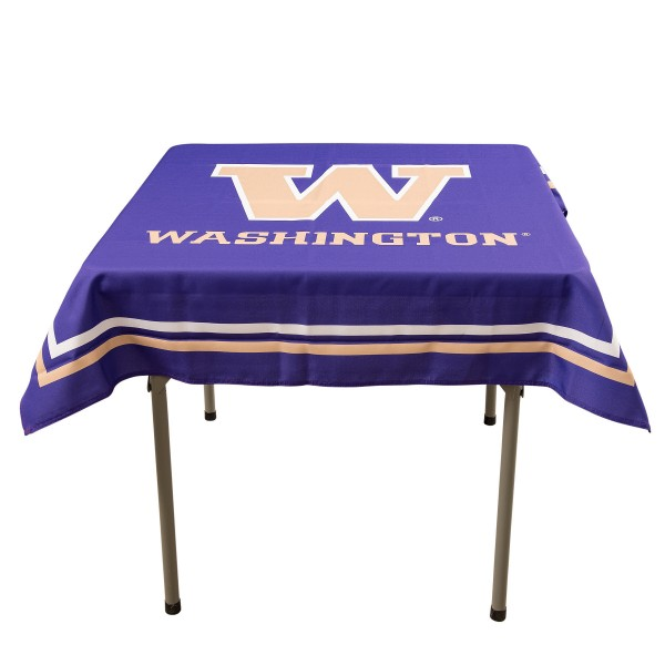 Washington Huskies Table Cloth measures 48 x 48 inches, is made of 100% Polyester, seamless one-piece construction, and is perfect for any tailgating table, card table, or wedding table overlay. Each includes Officially Licensed Logos and Insignias.