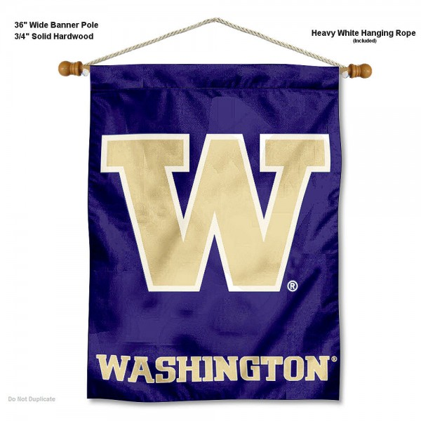 """Washington Huskies Wall Banner is constructed of polyester material, measures a large 30""""x40"""", offers screen printed athletic logos, and includes a sturdy 3/4"""" diameter and 36"""" wide banner pole and hanging cord. Our Washington Huskies Wall Banner is Officially Licensed by the selected college and NCAA."""