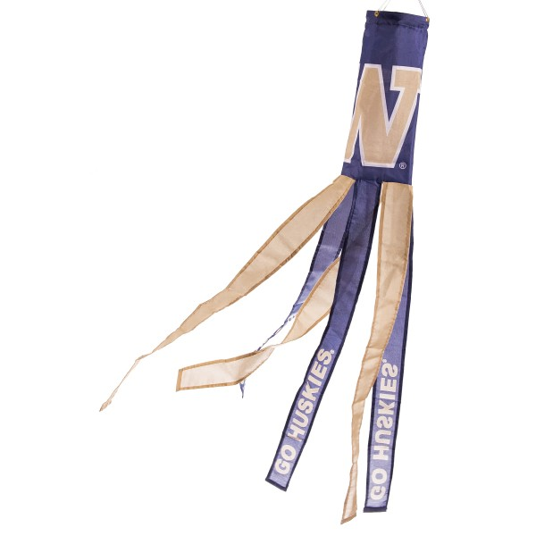 "Washington Huskies Windsock measures 40"" in length by 5"" in width, is made of 100% polyester, offers screen printed NCAA team logos, team names and insignias, has 6 alternative colored streamers and tails, includes a double stringed bridle and hanging swivel clip, and our Washington Huskies Windsock is authentic, licensed, and approved by the selected university or team."