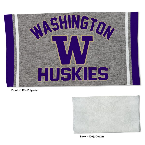 Washington Huskies Workout Exercise Towel measures 22x42 inches, is made of 100% Polyester on the front and 100% Cotton on the back, has double stitched sewing perimeter, and Graphics and Logos, as shown. Our Washington Huskies Workout Exercise Towel is officially licensed by the selected university and the NCAA. Also, machine washable and dryer safe.