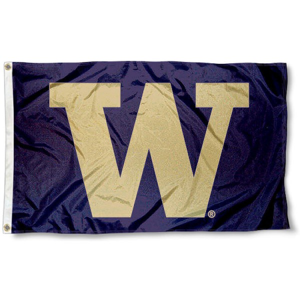 Washington Husky W Flag measures 3'x5', is made of 100% poly, has quadruple stitched sewing, two metal grommets, and has double sided Washington Husky W logos. Our Washington Husky W Flag is officially licensed by the selected university and the NCAA