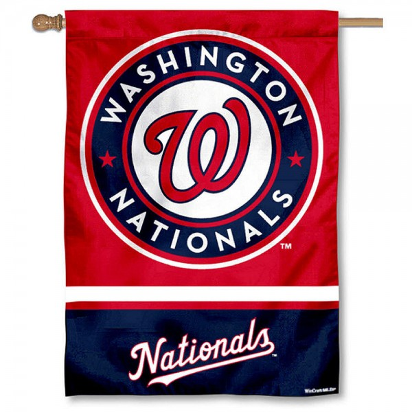Washington Nationals Double Sided House Flag is screen printed with Washington Nationals logos, is made of 2-ply 100% polyester, and is two sided and double sided. Our banners measure 28x40 inches and hang vertically with a top pole sleeve to insert your banner pole or flagpole.