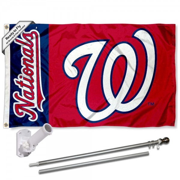 Our Washington Nationals Flag Pole and Bracket Kit includes the flag as shown and the recommended flagpole and flag bracket. The flag is made of polyester, has quad-stitched flyends, and the MLB Licensed team logos are double sided screen printed. The flagpole and bracket are made of rust proof aluminum and includes all hardware so this kit is ready to install and fly.