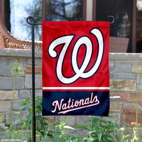 Washington Nationals Garden Flag is 12.5x18 inches in size, is made of 2-ply polyester, and has two sided screen printed logos and lettering. Available with Express Next Day Shipping, our Washington Nationals Garden Flag is MLB Genuine Merchandise and is double sided.