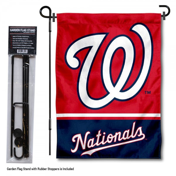 "Washington Nationals Logo Garden Flag and Stand kit includes our 13""x18"" garden banner which is made of 2 ply poly with liner and has screen printed licensed logos. Also, a 40""x17"" inch garden flag stand is included so your Washington Nationals Logo Garden Flag and Stand is ready to be displayed with no tools needed for setup. Fast Overnight Shipping is offered and the flag is Officially Licensed and Approved by the selected team."