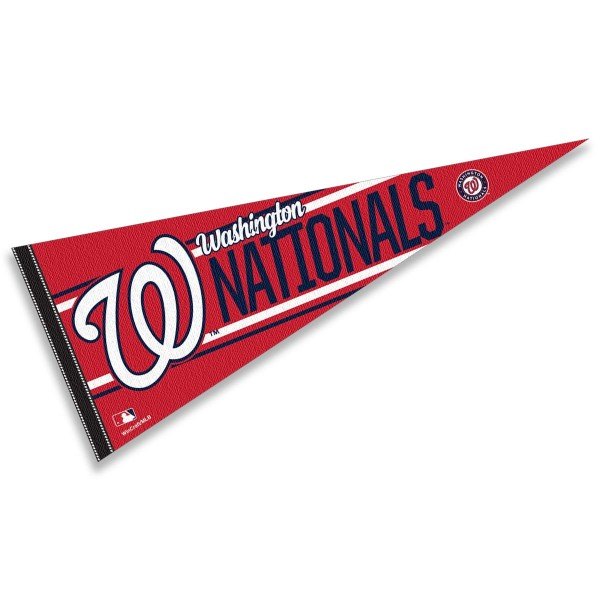 This Washington Nationals Pennant measures 12x30 inches, is constructed of felt, and is single sided screen printed with the Washington Nationals logo and insignia. Each Washington Nationals Pennant is a MLB Genuine Merchandise product.