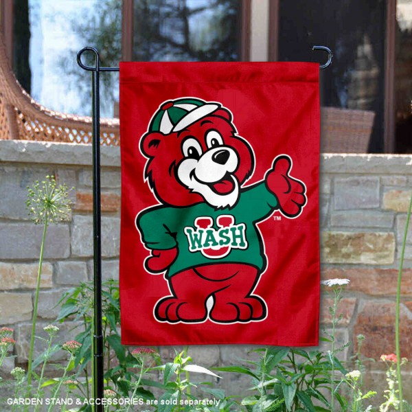 Washington St. Louis Bears Friendly Bear Garden Flag is 13x18 inches in size, is made of 2-layer polyester, screen printed university athletic logos and lettering, and is readable and viewable correctly on both sides. Available same day shipping, our Washington St. Louis Bears Friendly Bear Garden Flag is officially licensed and approved by the university and the NCAA.