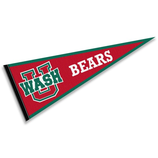 Washington St. Louis Bears Pennant consists of our full size sports pennant which measures 12x30 inches, is constructed of felt, is single sided imprinted, and offers a pennant sleeve for insertion of a pennant stick, if desired. This Washington St. Louis Bears Pennant Decorations is Officially Licensed by the selected university and the NCAA.