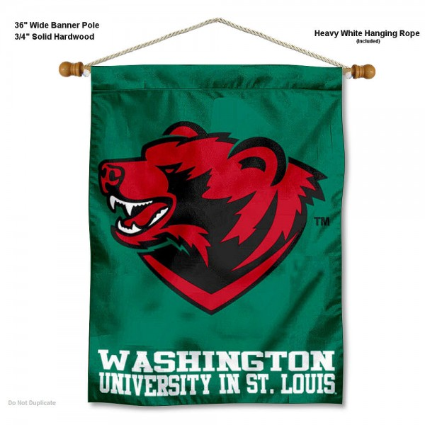 """Washington St. Louis Bears Wall Banner is constructed of polyester material, measures a large 30""""x40"""", offers screen printed athletic logos, and includes a sturdy 3/4"""" diameter and 36"""" wide banner pole and hanging cord. Our Washington St. Louis Bears Wall Banner is Officially Licensed by the selected college and NCAA."""