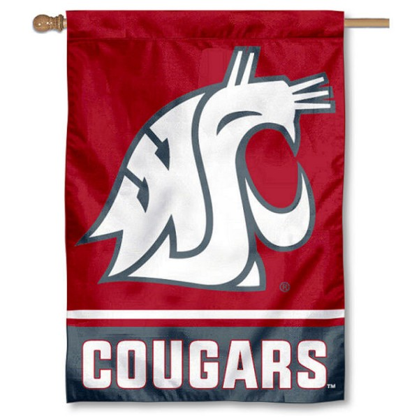 Washington State Cougars 2-Sided Home Flag is a vertical house flag which measures 28x40 inches, is made of 2 ply 100% nylon, offers screen printed NCAA team insignias, and has a top pole sleeve to hang vertically. Our Washington State Cougars 2-Sided Home Flag is officially licensed by the selected university and the NCAA.