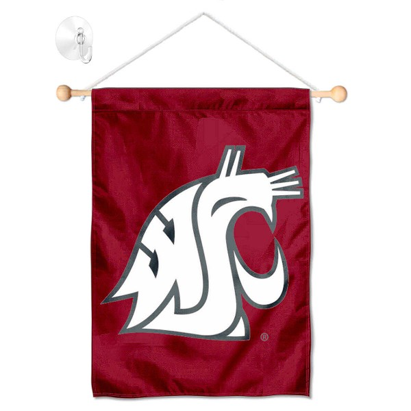 """Washington State Cougars Banner with Suction Cup kit includes our 13""""x18"""" garden banner which is made of 2 ply poly with liner and has screen printed licensed logos. Also, a 17"""" wide banner pole with suction cup is included so your Washington State Cougars Banner with Suction Cup is ready to be displayed with no tools needed for setup. Fast Overnight Shipping is offered and the flag is Officially Licensed and Approved by the selected team."""