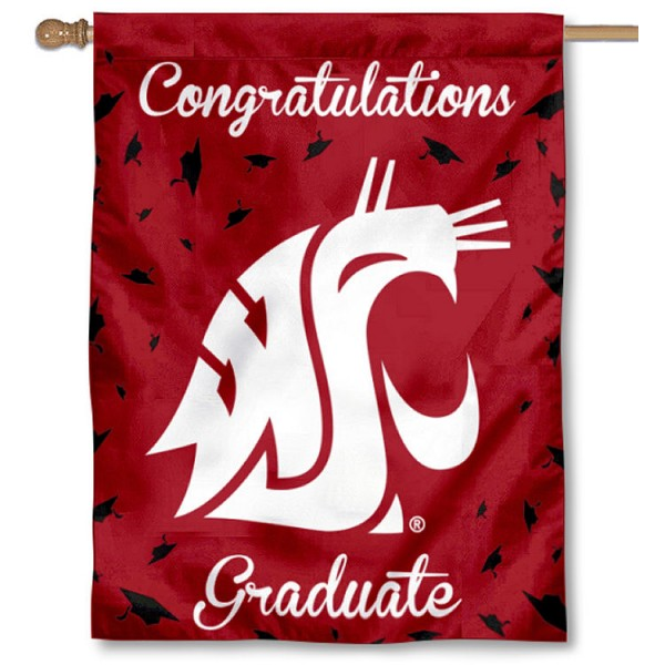 Washington State Cougars Congratulations Graduate Flag measures 30x40 inches, is made of poly, has a top hanging sleeve, and offers dye sublimated Washington State Cougars logos. This Decorative Washington State Cougars Congratulations Graduate House Flag is officially licensed by the NCAA.